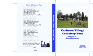 Earltown Village Cemetery Tour Cover